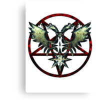 EVIL WINGS WITH PENTAGRAMS - red/grey Canvas Print