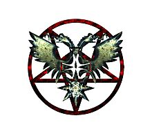 EVIL WINGS WITH PENTAGRAMS - red/grey Photographic Print