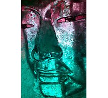 Buddha Face cyanred Photographic Print