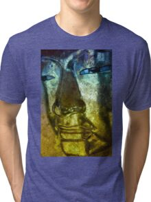 Buddha Face blue yellow Tri-blend T-Shirt
