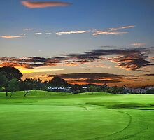 Golf course sunset by joeydw