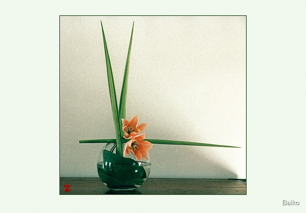 Ikebana-026 Greeting Card by Baiko