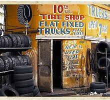 10th Avenue Tire Shop in the West Village - Kodachrome Postcards of vintage store signs in NYC  by Reinvention