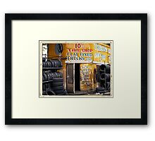 10th Avenue Tire Shop in the West Village - Kodachrome Postcards of vintage store signs in NYC  Framed Print