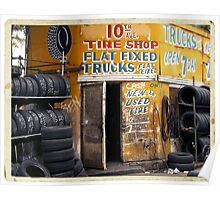 10th Avenue Tire Shop in the West Village - Kodachrome Postcards of vintage store signs in NYC  Poster