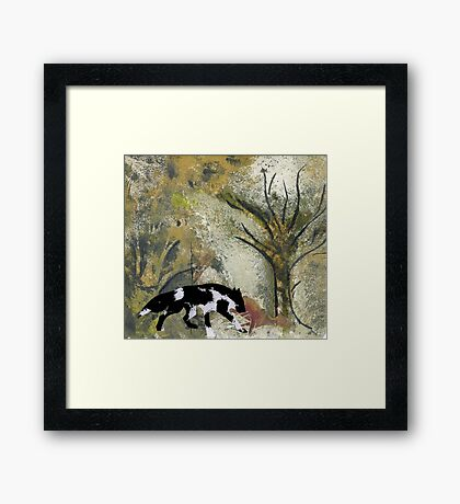 Wolf Eating His Kill Framed Print