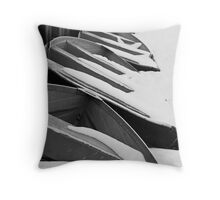 Row Boats Stored For The Winter Throw Pillow