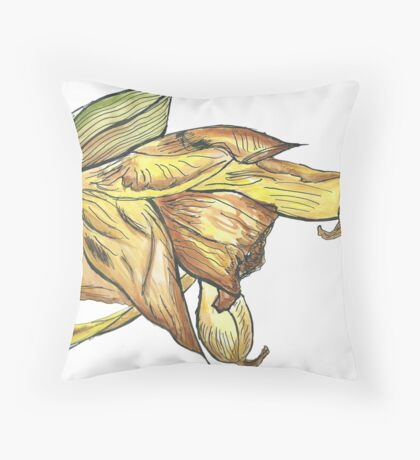 Messy daffodil painting Throw Pillow