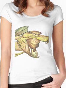 Messy daffodil painting Women's Fitted Scoop T-Shirt