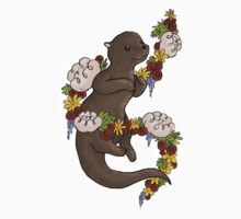 Floral Otter One Piece - Short Sleeve