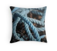 Blue coiled snake Throw Pillow