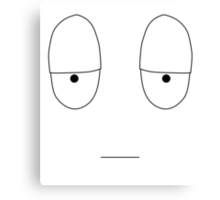 Simple Mood Smiley Face - Reluctant (T-Shirt, Tote Bag, etc) Canvas Print