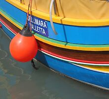Colourful Wooden Luzzu Striped Fishing Boat in Malta Harbour by HotHibiscus