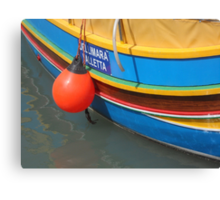 Colourful Wooden Luzzu Striped Fishing Boat in Malta Harbour Canvas Print
