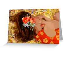 Girl on Yellow Quilt Greeting Card