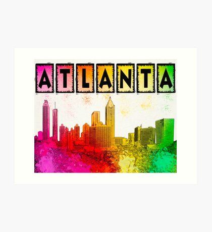 Atlanta Skyline In Living Color Art Print