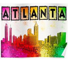Atlanta Skyline In Living Color Poster