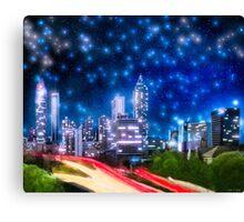 Starry Night Over The Atlanta Skyline Canvas Print