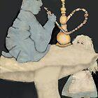Alice and hookah smoking caterpillar by Laurel  Coleman