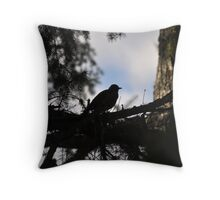 Silhouetted Robin on the sky Throw Pillow