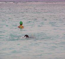 Enjoying the water in the coral reef lagoon in the Lakshadweep Islands by ashishagarwal74