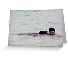 Snorkelling sideways in the lagoon inside the coral reef in the Lakshadweep Island in India Greeting Card