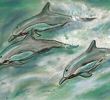 Dolphin trio  by Dawn B Davies-McIninch