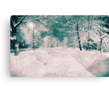 Winter wonderland. Night snowy street in pink and blue tones with halftone effect Canvas Print