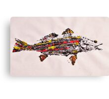 Gyotaku fish rubbing, Florida Redfish, Surreal color Canvas Print