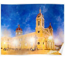 Night Falls Over Granada Cathedral - Nicaragua Poster