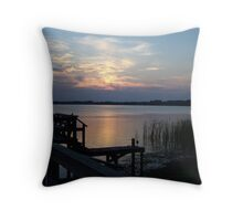 On the dock of the bay Throw Pillow