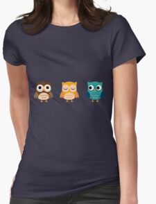 Cute Owls Chibi Womens Fitted T-Shirt