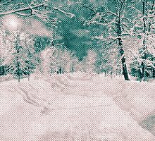 Winter wonderland. Night snowy street in pink and blue tones with halftone effect by Natalia Bykova
