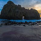 Pfifer Beach Sunset Keyhole Rock, Big Sur, California by photosbyflood