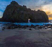 Pfifer Beach Sunset Keyhole Rock, Big Sur, California by photosbyflood