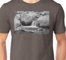 Rocky Mountain Canyon Waterfall Black White Unisex T-Shirt