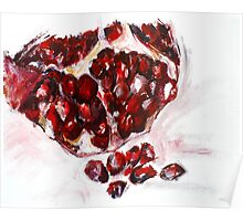 Pomegranate acrylics 11 inch x 14 inch canvas board Poster