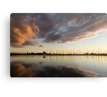 Boats and Clouds Summer Sunset Metal Print