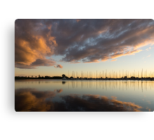 Boats and Clouds Summer Sunset Canvas Print
