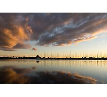 Boats and Clouds Summer Sunset Photographic Print