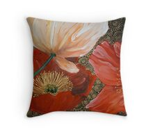 Three Poppies II Throw Pillow