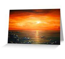 Red Atlantic Sunset Greeting Card