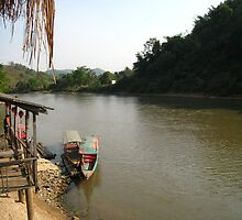 Long Boats Wait on the Mae Kok River by MeBoRe