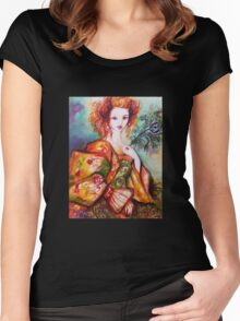ROMANTIC WOMAN WITH SPARKLING PEACOCK FEATHER Women's Fitted Scoop T-Shirt