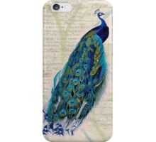 Peacock on Botanical Background iPhone Case/Skin