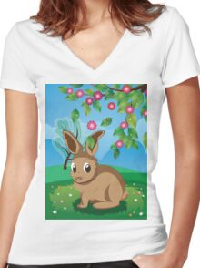 Brown Rabbit on Lawn Women's Fitted V-Neck T-Shirt
