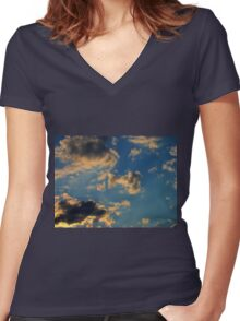 Sunset Clouds 3 Women's Fitted V-Neck T-Shirt