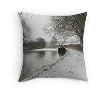Winter on the canal Throw Pillow