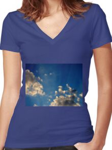 Sunset Clouds 4 Women's Fitted V-Neck T-Shirt