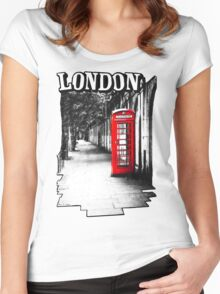 London on the Phone - British Phone Booth Women's Fitted Scoop T-Shirt